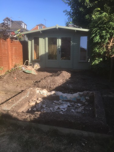 Pond removal patio installation Totton