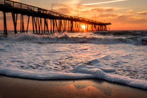 pier fishing seascape seafoam foam ocean virginiabeach waves sunrise