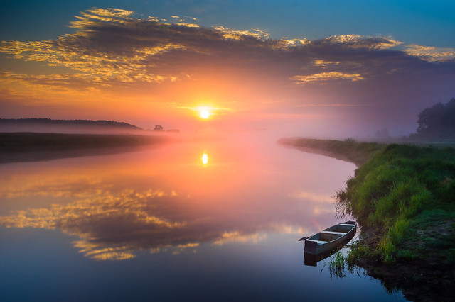 The Narew River at summer sunrise