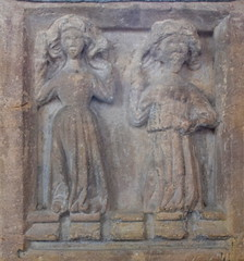 Althorne font: Mary Magdalene meets the Risen Christ in the garden