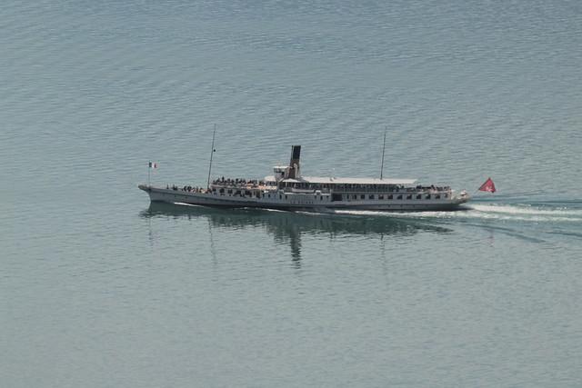 Dampfschiff DS Simplon ( Inbetriebsetzung 1920 - Länge 78.50 m - 980 Personen - CGN Compagnie Générale de Navigation sur le lac Léman ) auf dem Genfersee - Lac Léman in der Westschweiz - Suisse romande im Kanton Waadt - Vaud der Schweiz