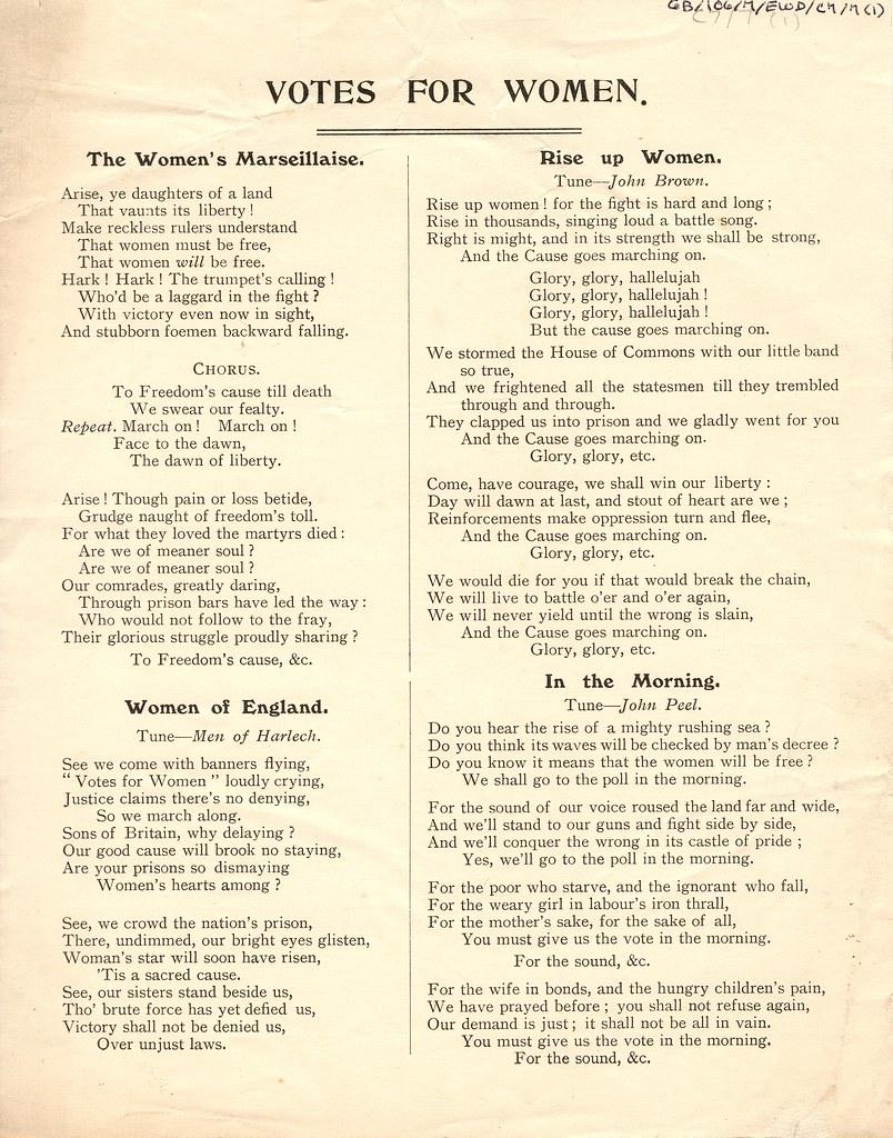 Votes for Women songs   7EWD C 6 7 The Women's Marseillaise