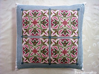 36. Spanish Tiles Cushion   by Beelationship Embroidery Studio