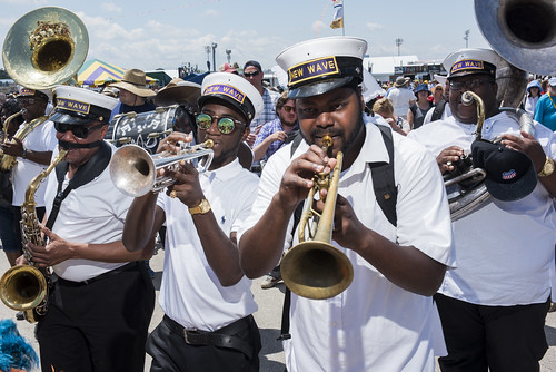 New Wave Brass Band during Jazz Fest day 1 on April 27, 2018. Photo by Ryan Hodgson-Rigsbee RHRphoto.com