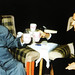 A cautious Chairman Mao toasting with a similing President Richard Nixon by Doc Kazi