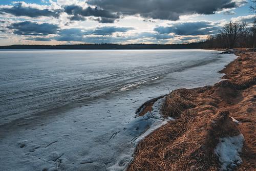 april lakecarlos lakecarlosstatepark minnesota evening frozen frozenlake ice lake melt snow spring statepark sunset thaw winter