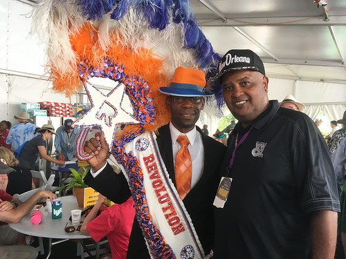 Revolution with WWOZ's Action Jackson in the Hospitality Tent at Jazz Fest - May 3, 2018. Photo by Carrie Booher.