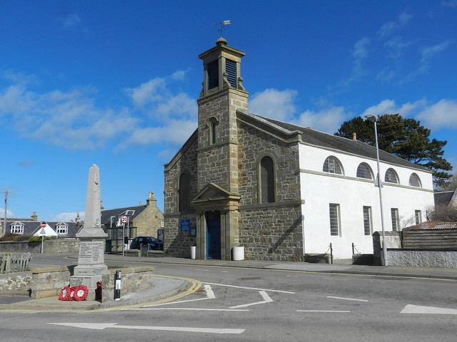 The Kinloss and Findhorn Parish Church and the Kinloss District War Memorial, Findhorn, Moray Coast, April 2018