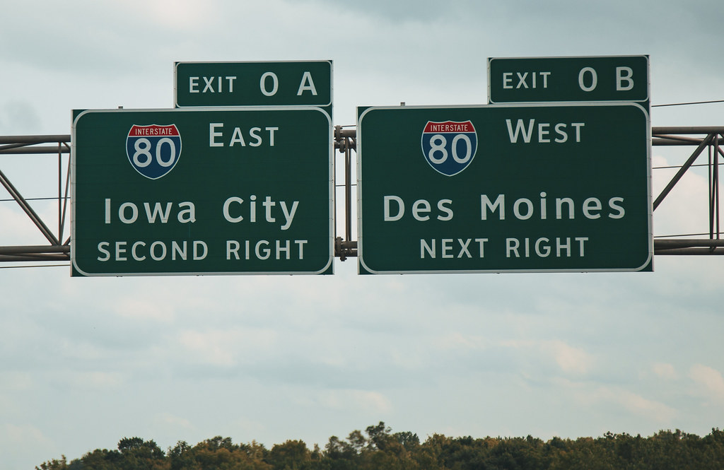 highway signs for iowa city i 80 east and des moines i flickr rh flickr com