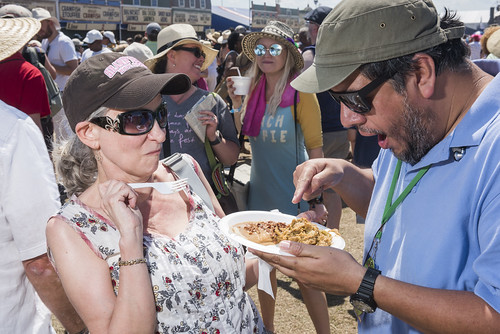 Jorge (Tries To) Eat at Jazz Fest Day 7 on May 5, 2018. Photo by Ryan Hodgson-Rigsbee RHRphoto.com