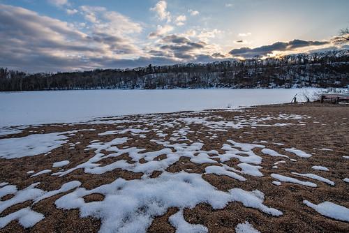 lakealice minnesota riverwaycampground williamobrienstatepark beach clouds frozen ice lake snow spring statepark sunset trees winter scandia unitedstates us