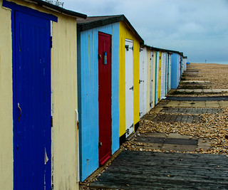 Aldwick Beach Huts on a dull day In May2