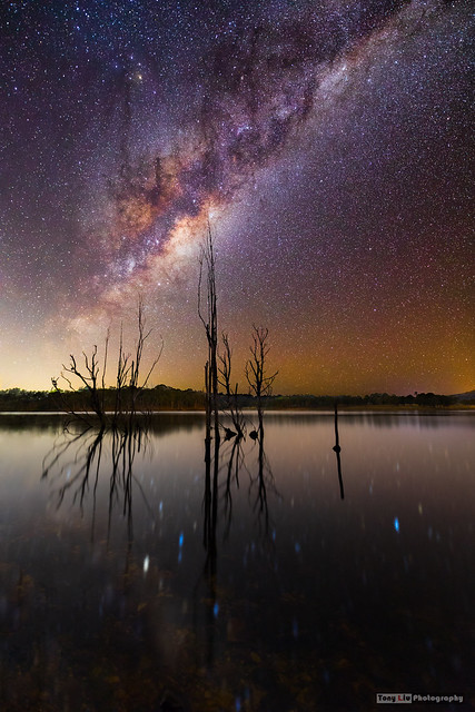 Milky Way rising over Lake Moogerah