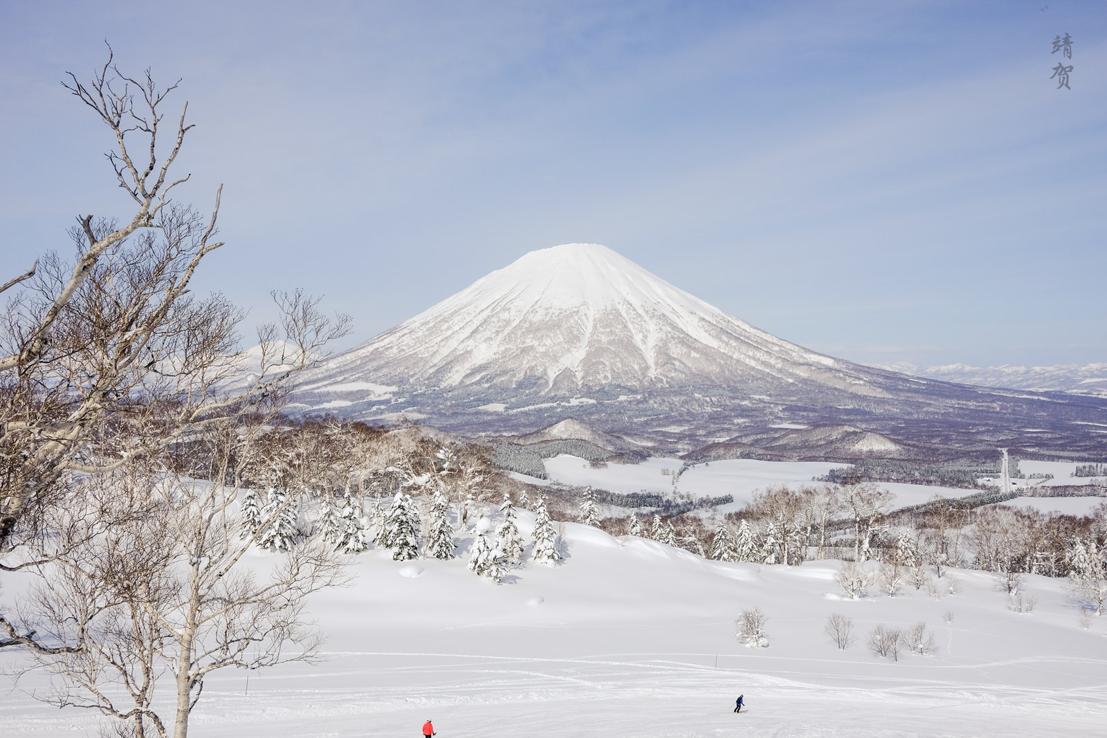 View of Mt Yotei while skiing