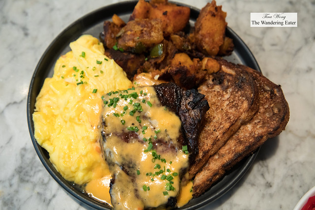 Ribeye Steak & Eggs - Scrambled Eggs, Hot Sauce Hollandaise, Long Island Home Fries, Whole Wheat