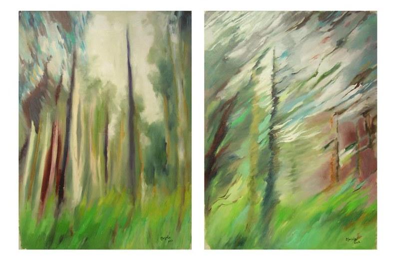 Adesso/Richiamo - diptyque 78x120 cm. Oil on paper 2012