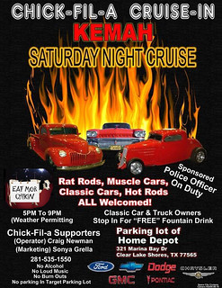 Saturday Evening Cruise-In Kemah Chick-Fil-A Flyer | by Camaro Kid Car Show Listings