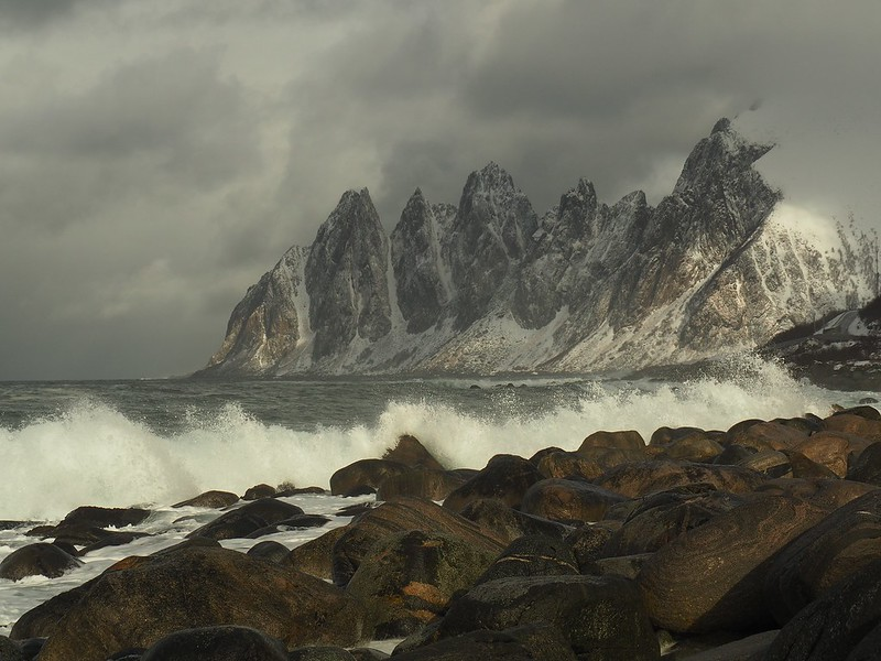 Senja rock towers. Stunning arctic mountain scenery