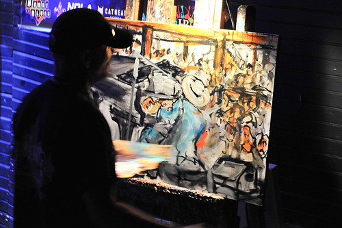 Frenchy painting onstage WWOZ's 30th Annual Piano Night - April 30, 2018. Photo by Michael E. McAndrew Photography.