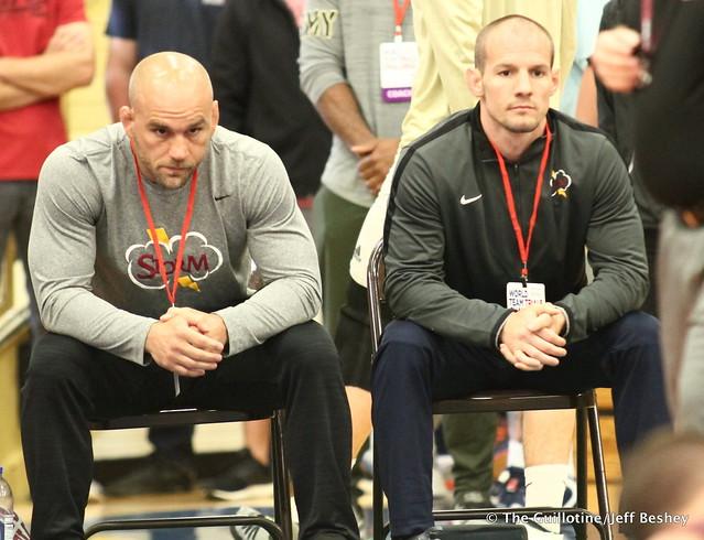 Minnesota coaches Luke Becker and Dustin Schlatter. 180519AJF0145