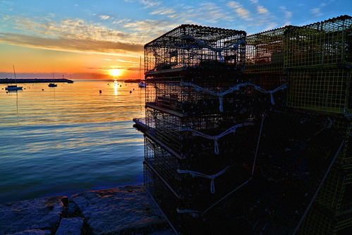 sun sunrise sky newengland ocean atlanticocean crates lobstercrates fishing rockport massachusetts ma eastcoast east spring may 52week week21