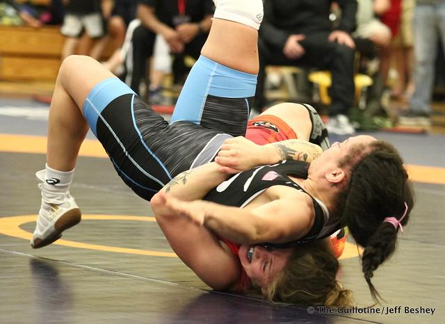 59 kg: Jenna Burkert (Army WCAP) vs. Kelsey Campbell (Sunkist Kids). 180519BJF0144