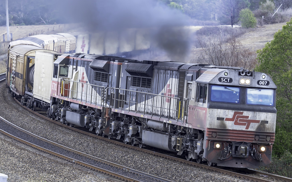 SCT Logistics locomotive SCT007, with SCT012, on the UP at Maldon NSW by Paul Leader - Paulie's Time Off Photography