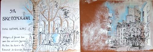 59e Sketchcrawl le Parc Martin Luther King et le nouveau Tribunal de Grande Instance | by TEDIBOR