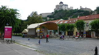 Trencin town centre with Trencin castle towering above, Slovakia