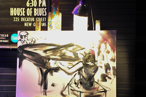 Frenchy's Marcia Ball painting in progress WWOZ's 30th Annual Piano Night - April 30, 2018. Photo by Michael E. McAndrew Photography.