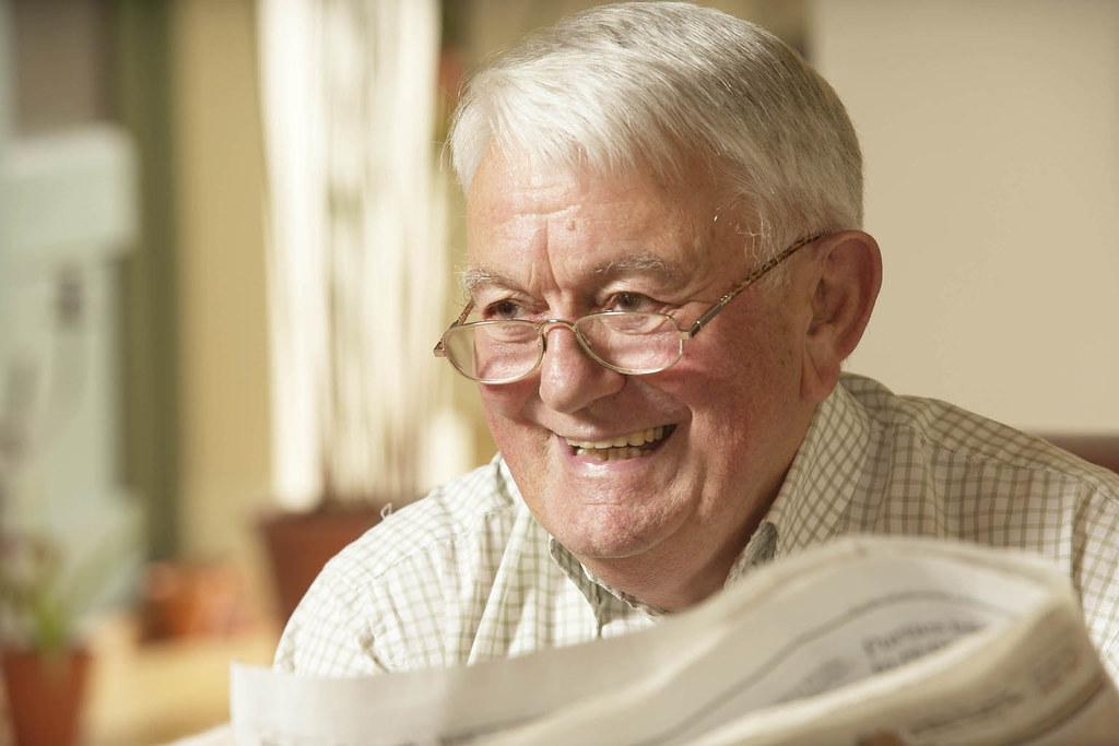 Smiling senior older man