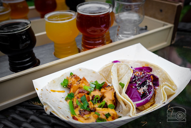 Chicken & Bacon Taco w/ BBQ, Lime Aioli, Scallions - Swai Taco - Catfish, Purple Cabbage, Cweet Chili, Sesame - Hashbrown New Grounds
