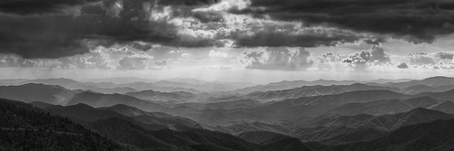 landscape clouds mountains bw blue ridge parkway north carolina woolyback overlook