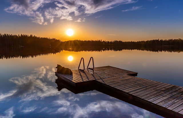 Silent moment on the swimming dock