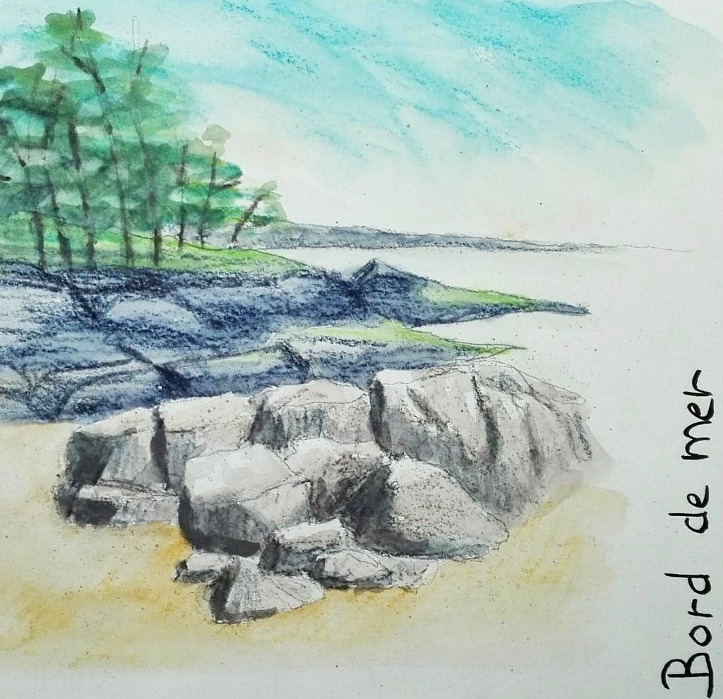 Image Bord De Mer bord de mer aux crayons aquarelle.   ceha   flickr