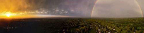drone aerialphotography rainbow sunset storm cloudsstormssunsetssunrises clouds mammatusclouds aerial spring panorama panoramic sun