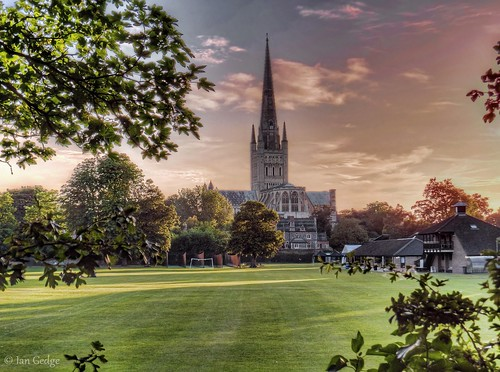 england uk britain eastanglia norfolk norwich cathedral city evening sunset spring grass landscape platinumheartaward