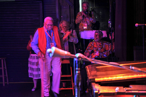 Ellis Marsalis enters the stage WWOZ's 30th Annual Piano Night - April 30, 2018. Photo by Michael E. McAndrew Photography.