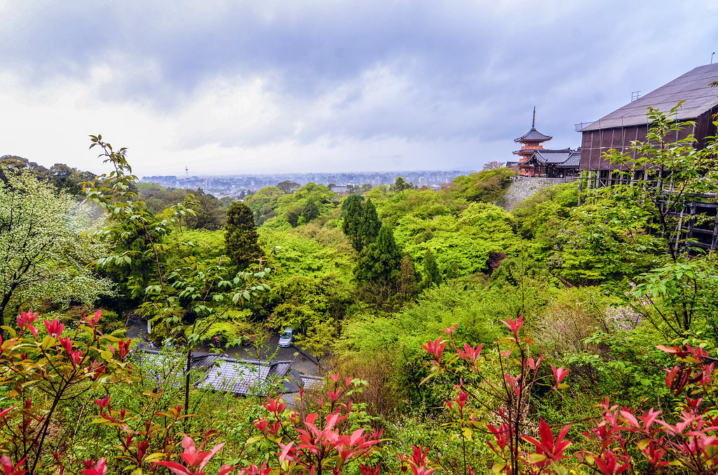 Kiyomizu-dera skyline rain