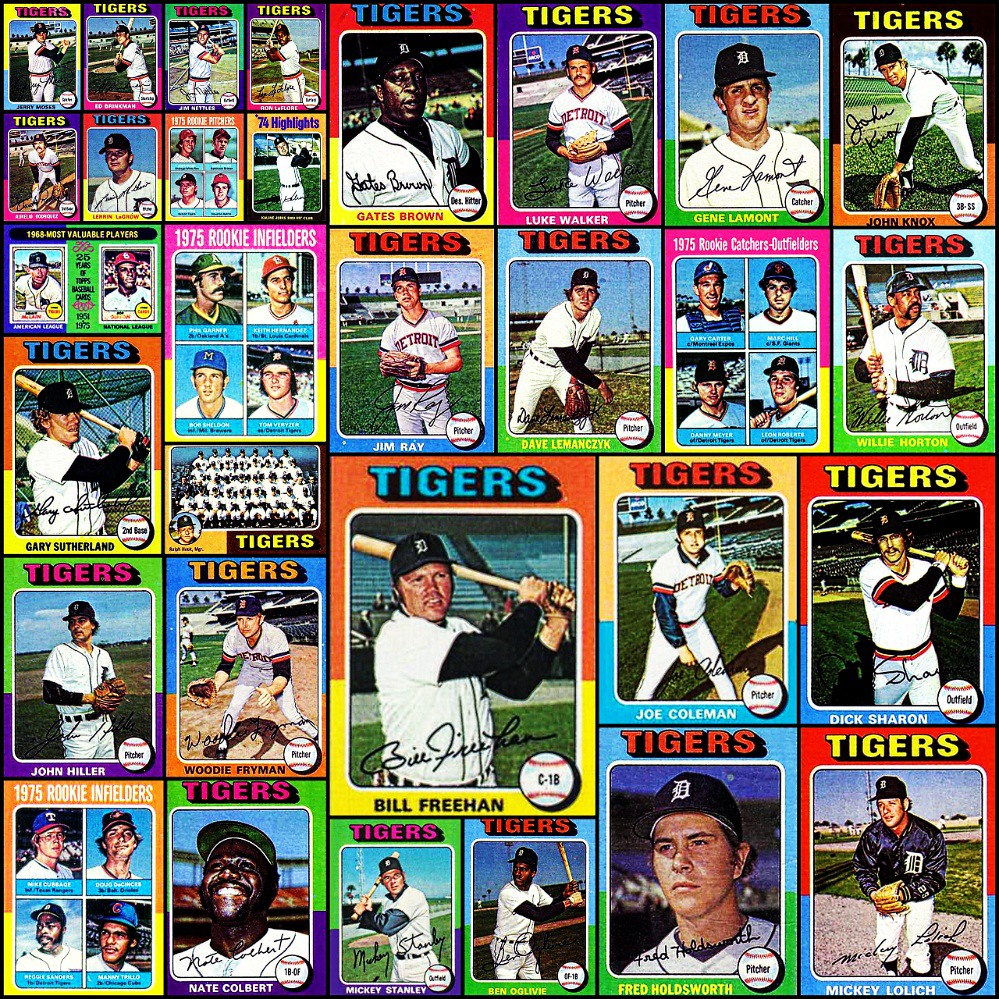 1975 Topps Detroit Tigers Topps Baseball Cards Collage
