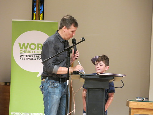 Jeff Kinney and young artist