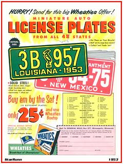 GM Wheaties - 1953 US License Plates