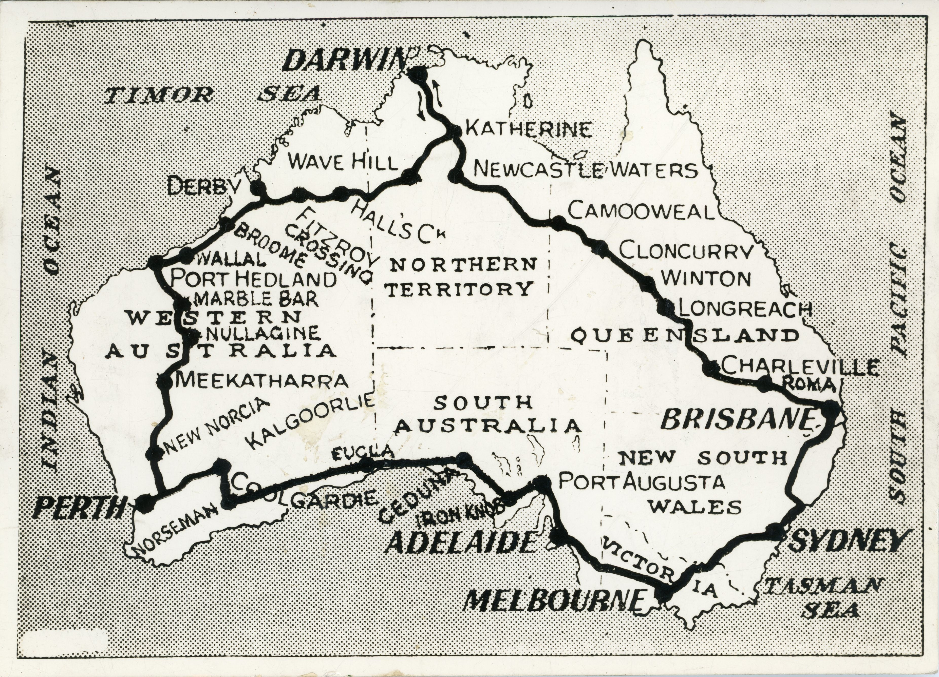 1. Map of Australia Showing Route Followed On Motor Journey of 10,000 miles