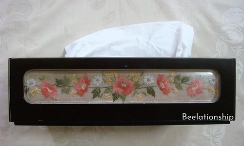 Coral Pink Flower TIssue Case | by Beelationship Embroidery Studio