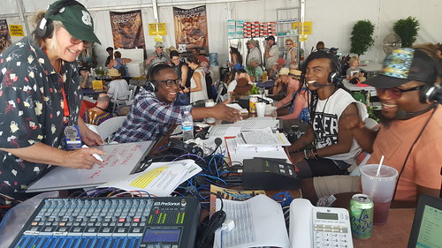 Missy Bowen, Nigel Hall, Cole Williams, and Derrick Freeman during a WWOZhospitality tent interview.