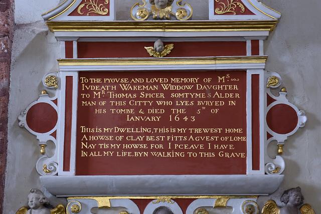 Exeter, Devon, St. Martin's, monument to Judeath Wakeman †1643 & Elizabeth Butler †1644, detail