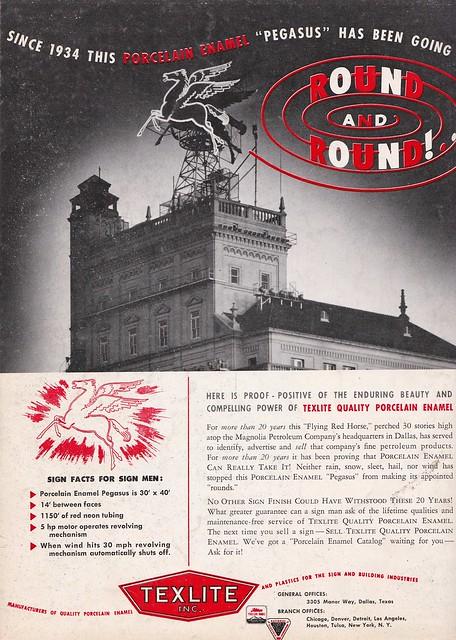 Vintage TEXLITE Ad - Pegasus Sign, Dallas, Texas - circa 1954