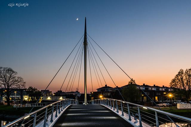 Bridge, Sunset and Moon