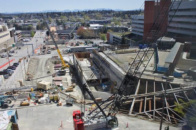Bellevue light rail construction, April 2018
