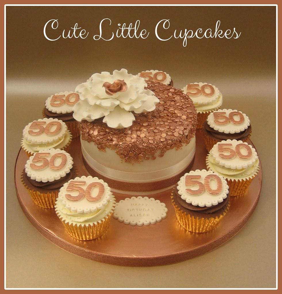 Rose Gold 50th Birthday Cake Cupcakes Heidi Stone Flickr